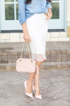 All-lace pencil skirt + blush pink accessories
