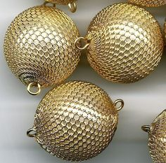 Beads Gold Plated Round Beads Vintage 20 Bright Gold Beads