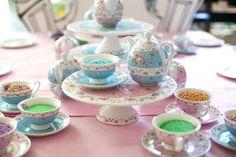 Tea Set Cupcake Decorating Station from a Sleepover Birthday Party via Kara's Party Ideas | KarasPartyIdeas.com (11)