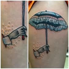 One of the interesting tattoo designs that you can come up with is one featuring the umbrella. It is one design element that the whole world is familiar with. Rain Tattoo, Umbrella Tattoo, Finger Tattoos, Hand Tattoos, Cool Tattoos, Tatoos, Design Elements, Design Art, Tattoo Zone