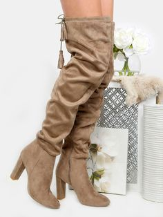 37e456f1dae2 Tassel Tie Faux Suede Boots TAUPE Fall Booties