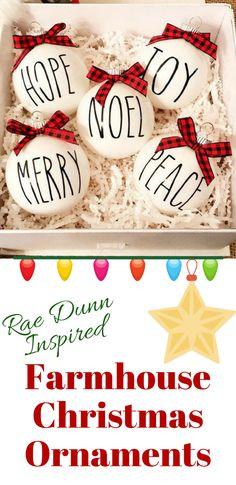 Beautiful Rae Dunn Inspired Farmhouse Christmas Ornaments | Farmhouse Christmas | Rustic Christmas | Christmas | Holiday Decor | Farmhouse Decor | Home Decor | Gift Ideas #ad