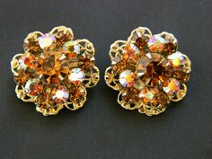 Vintage Aurora Borealis Round Clip On Cluster Earrings Smoky Rhinestone Gold…