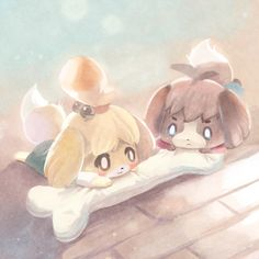 Animal Crossing New Leaf ginger ale art Isabelle and Digby