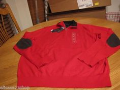 Men's Tommy Hilfiger long sleeve sweater lux cotton NEW L red zipper pull over  1