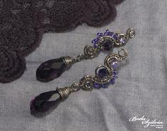 CIRCE EARRINGS  OOAK wire wrapped post earrings  by bodaszilvia, $33.50
