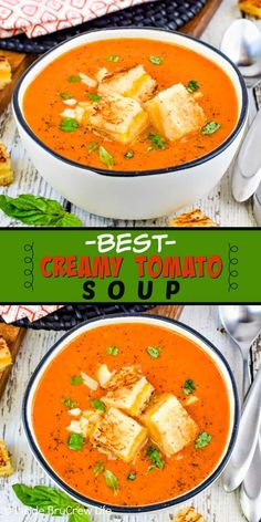 Best Creamy Tomato Soup - a pot of this homemade t. Best Creamy Tomato Soup – a pot of this homemade tomato soup and grilled cheese can be on your dinner table in under 30 minutes. Make this easy comfort food recipe for cold chilly nights! Tomato Soup Recipes, Panera Tomato Soup Recipe, Tomato Soups, Easy Tomato Soup Recipe, Fresh Tomato Soup, Vegan Tomato Soup, Creamy Tomato Basil Soup, Roasted Tomato Soup, Best Canned Tomato Soup
