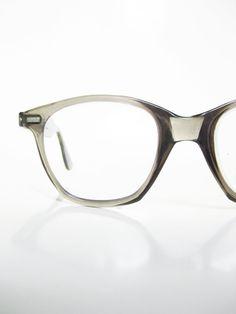 64297808253 Vintage 1950s Mens Horn Rim Eyeglasses Glasses Opitcal Frames Light Smoke  Grey… Frame Light