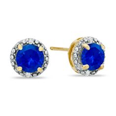 6.0mm Lab-Created Blue Sapphire and Diamond Accent Frame Stud Earrings in 10K Gold - Zales