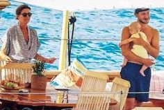 Beautiful Grandma & Mom Princess Caroline of Monaco with her new and cute grandson Stefano Carlos Casiraghi and his proud new Papa Pierre Casiraghi.  Summer Holiday 2017.