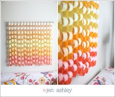 Apartment DIY | Ombre Paper Chain - jen + ashley photography  Have friends and family write you little notes so you can read them when you are homesick or just need a good laugh