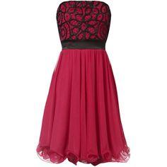 Jane Norman Azure Monochrome Prom Dress (€28) ❤ liked on Polyvore featuring dresses, vestidos, pink, short dresses, red dress, red mini dress, prom dresses and short pink dress
