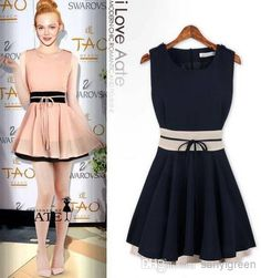 Fashion Sleeveless Bow Chiffon Cute Dress 2014 New Casual Dresses1 | Buy Wholesale On Line Direct from China