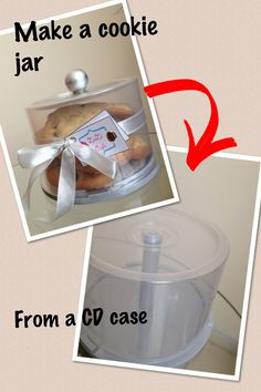 Make a cookie jar out of an empty CD case! I cut out the inner cylinder and sprayed the base with silver spray paint! The knob is a wooden ball sprayed with paint too!