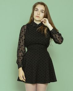 The New Ponte Sleeveless Polka Dot Dress and Basic Polka Dot Button Up Blouse by #AmericanApparel #polkadot #minidress