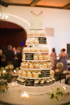 Love the idea of wedding cupcakes, and small cake to cut at the top! But this is only about 100 cupcakes Wedding Cakes With Cupcakes, Cupcake Cakes, Cupcake Tree, Mini Cupcakes, Wedding Cup Cakes, Rustic Wedding Cupcakes, Diy Wedding Cake, Budget Wedding Cakes, Coffe Cupcakes