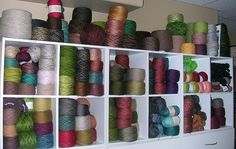 Lace Yarn Stash (organized by yardage) by ThatLoganChick, via Flickr
