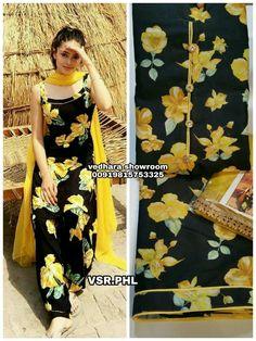 wtsapp pic for details. Designer Punjabi Suits, Indian Designer Wear, Indian Suits, Indian Wear, Salwar Kameez Neck Designs, Patiala, Printed Silk, Western Dresses, Grammar