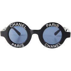Chanel Most Wanted Sunglasses Round Paris Logo Vintage Black CC Logo Half Tint Channel Sunglasses, Round Lens Sunglasses, Luxury Sunglasses, Vintage Sunglasses, Black Sunglasses, Chanel Glasses, Vintage Chanel, Logo Vintage, Vintage Black