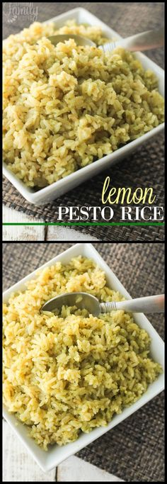 This lemon pesto rice makes the most amazing side dish to just about any meal. I… This lemon pesto rice makes the most amazing side dish to just about any meal. It has a delicious pesto flavor with a kick of lemon. Rice Side Dishes, Food Dishes, Easy Side Dishes, Italian Rice Dishes, Vegan Rice Dishes, Pesto Dishes, Side Dishes For Chicken, Italian Foods, Side Dishes