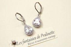 Délicates boucles d'oreilles mariage. Bridal earrings.