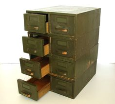Vintage Wooden Library Index Card Catalog Drawers. Such a cute way to organize!