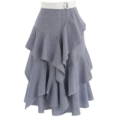 Chicwish Passion Tiered Ruffle Hem Skirt in Navy Gingham ($45) ❤ liked on Polyvore featuring skirts, blue, ruffle skirt, navy skirts, navy blue a line skirt, a-line skirts and blue a line skirt