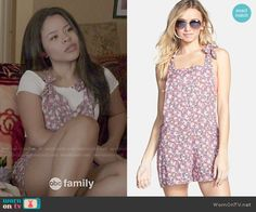 Mariana's short pink floral overalls on The Fosters.  Outfit Details: http://wornontv.net/49662/ #TheFosters