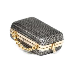 Fret rectangular shaped clutch bag with strap
