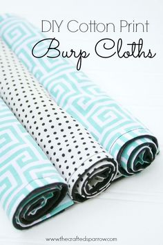 DIY Cotton Print Burp Cloths, flannel backing makes them super absorbent and they fit so well in to any diaper bag!   thecraftedsparrow.com