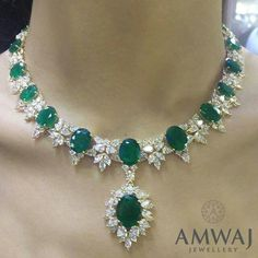 A breath-taking emerald and diamond necklace to start the new year with from Amwaj Jewellery...