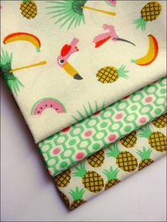Lot de 3 coupons fat quarter, tissu coton motifs oiseaux, ananas, pastèque tendance vintage scandinave : Tissus Habillement, Déco par atomictissus