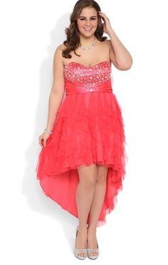Deb Shops Plus Size Strapless High Low #Prom #Dress with Stone Bodice $89.90