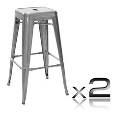 """Fantina"" Steel Kitchen Bar Stool 76cm in Metallic (Set of 2) – Simply Bar…"