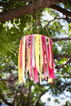 ribbon chandelier (can use streamers or scrap pieces of fabric) Ribbon Mobile, Ribbon Chandelier, Mobiles, Diy And Crafts, Crafts For Kids, Do It Yourself Wedding, Little Girl Rooms, Party Time, Craft Projects
