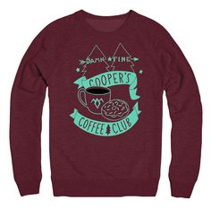 Coopers Coffee Club truffle colored raglan twin peaks themed sweater by bunnydee on Etsy (null)