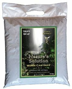 Nature's Solution Organic Worm Castings 5 Lb by Nature. $15.95. Build Your Soil. 99.4% Pure Vegan Earthworm Castings. No Fillers, No Additives. Adds Organic Matter & Microbes. 5 pounds treats 64 square feet. NATURE'S SOLUTION WORM CASTINGS are 99.4% pure castings, which are dark brown, not black (which would indicate anaerobic conditions). They are non-manure based and screened to 1/8 inch. Worms eat the microorganisms growing on the surfaces of organic matter. The worm...