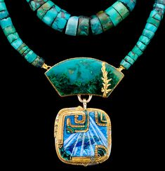 Sea Dreamer by Marianne Hunter - Enamels with Foils, Malachite, Chrysocolla in Quartz Hand cut Turquoise 20k,   24K, 14K, Argentium silver