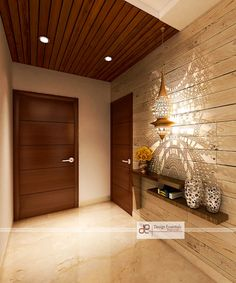 Entrance modern corridor, hallway & stairs by design essentials modern plywood House Main Door Design, Main Entrance Door Design, Home Entrance Decor, Modern Entrance, Door Design Interior, House Entrance, Interior Exterior, House Design, Modern Hallway