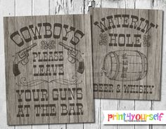 Cowboy Bar Sign // Instant Download 8x10 by Print4Yourself on Etsy