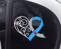 Grey and Light Blue Awareness Ribbon Heart Scroll Window Decal (Type 1 Diabetes)