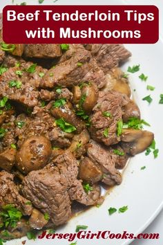 Tenderloin Beef Tips with Mushrooms are made in under 30 minutes. This is really an easy but impressive steak dinner! #beefitswhatsfordinner #certifiedangusbeef #dinner #jerseygirlcooks Beef Tenderloin Tips Recipe, Tenderloin Steak, Roast Brisket, Pork Roast, Pork Chops, Beef Tips, Beef Recipes, Filet Recipes, Game Recipes