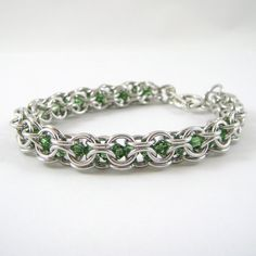 Swarovski Bracelet Chainmail  Ernite Green Crystals