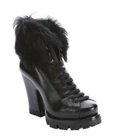 Pradablack leather and dyed sheep lug sole platform ankle boots