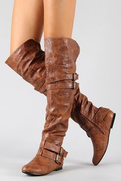 Vickie-16H Buckle Slouchy Thigh High Flat Boot ($41.20) they come in tan, black, brown, and gray