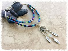 Blue, Green, Pink Double Strand Cotton Woven Cord Dream Catcher Pendant Choker Necklace, Dream Catcher with Crystal Butterfly Pendant