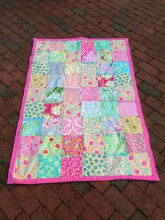 Baby Girl Crib Quilt Throw by babyburritoquilts on Etsy
