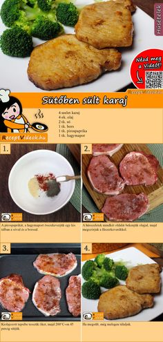 Baked Pork Chops recipe with video. Detailed steps on how to prepare this easy and simple Baked Pork Chops recipe! Pork Chop Recipes, Oven Recipes, Meat Recipes, Healthy Recipes, Steamed Vegetables, Baked Pork Chops, Hungarian Recipes, Chops Recipe, Four