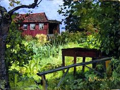 Garden with Red House Edvard Munch - 1882
