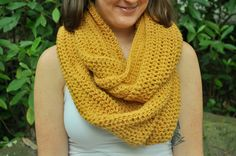Mustard Yellow Infinity Scarf ~ I need to go get this color of yarn.